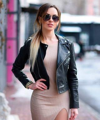 С чем носить женские куртки-косухи: стильные образы