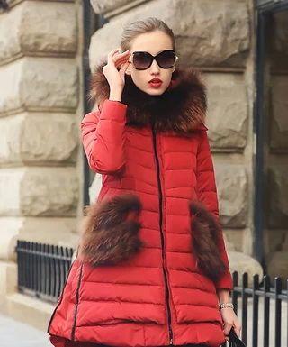 Модные пуховые пальто с мехом