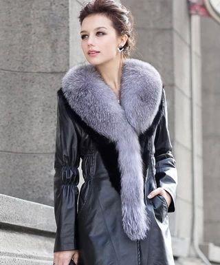 Кожаные пальто с мехом: красивые и практичные модели