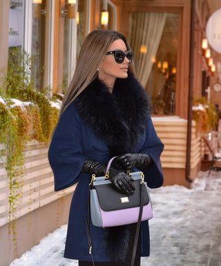 Модели шерстяных пальто с мехом