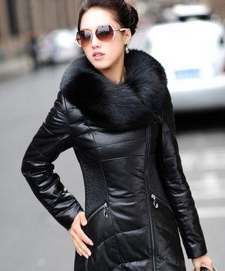 Модные кожаные пуховики с мехом