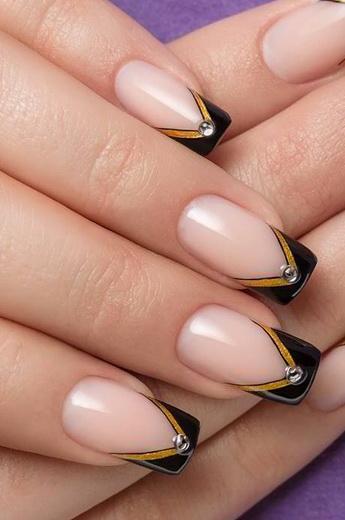 Дизайн ногтей «френч с золотом»: фото и идеи золотого французского маникюра с разными лаками